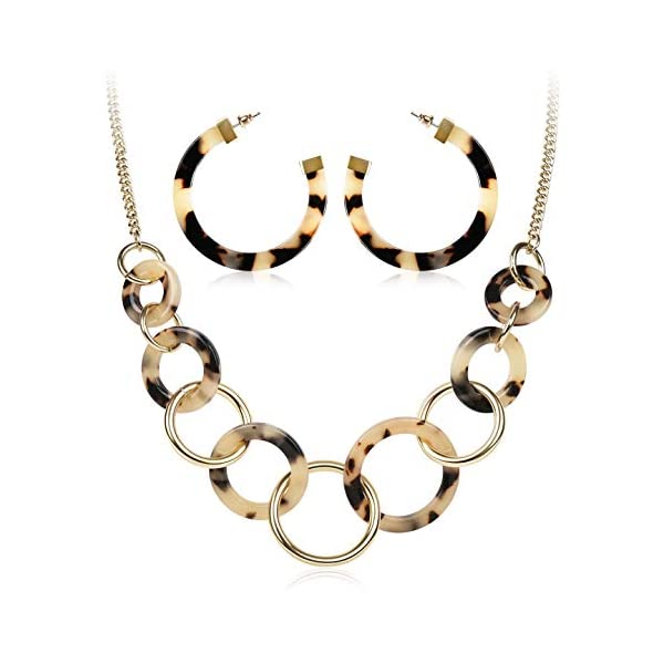 LCZTN Womens Jewelry Set Resin Hoop Earrings and Necklace for Girls Bohemian Statement Gift
