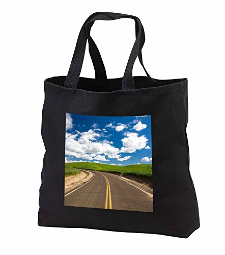 Danita Delimont - Palouse - Washington State, Palouse Country, Backroad through green fields - Tote Bags - Black Tote Bag JUMBO 20w x 15h x 5d (tb_251588_3)