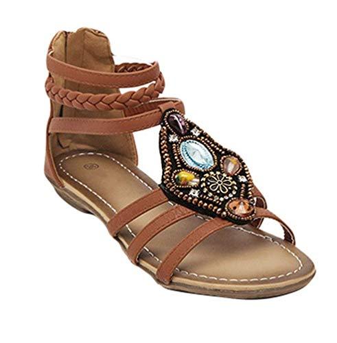 37 color De Para Eu Mujer Punta Abierta Tamaño Negro Sandalias Marrón Cuentas Con Fuweiencore Retro Romanas vOTw06Wq