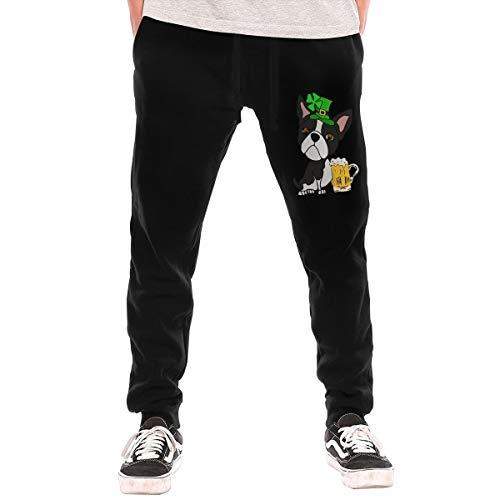 BibiQQgait Mens Jogger Sweatpants Boston Terrier Dog St. Patrick's Day Middle Rise Pajama Pants -