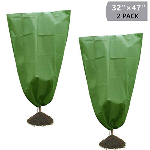 Onene 2 Pack Drawstring Plant Covers, 47″ X 31.5″ Warm Plant Protection Cover Bags, Frost Cloth Blanket Protecting Fruit Tree Potted Plants from Freezing Animals Eating, Green Color