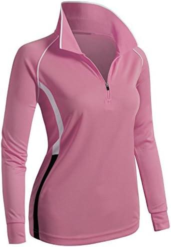 CLOVERY Women's ActiveWear POLO Shirt Long Sleeve Zipup