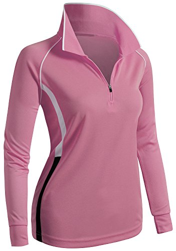 CLOVERY Functional Fabric Wicking Material Clothing Long Sleeve Zipup POLO Shirt PINK US S/Tag S ()