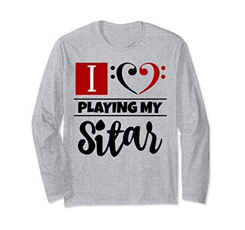 Double Black Red Bass Clef Heart I Love Playing My Sitar Long-Sleeve T-Shirt