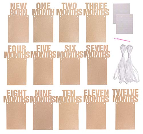 - Penta Angel 1st Birthday Baby Photo Banner from Newborn to 12 Months, Monthly Milestone Photograph Kraft Paper Bunting Garland for Boy Girl First Birthday Party Celebration Decoration