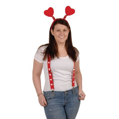 Heart Suspenders (adjustable) Party Accessory  (1 count) -