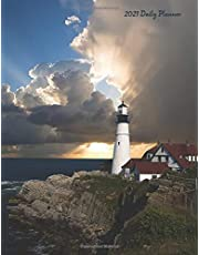 """2021 Daily Planner: Lighthouses 2021 Large Daily Calendar With Goal Setting Section and Habit Tracking Pages, 8.5""""x11"""""""