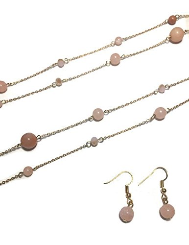 [Long Gold Tone Necklace and Earring Set with Rose Colored Stones] (Colored Stone Costume Jewelry)