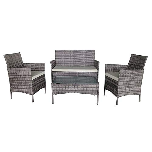 Palm Springs Deluxe 4 Piece Rattan Sofa Set w/Chairs, Tables & Cushions – Grey (Renewed)