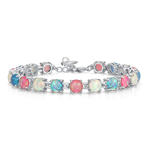 CiNily Created White Blue Pink Fire Opal Rhodium Plated for Women Jewelry Gemstone Bracelet 7