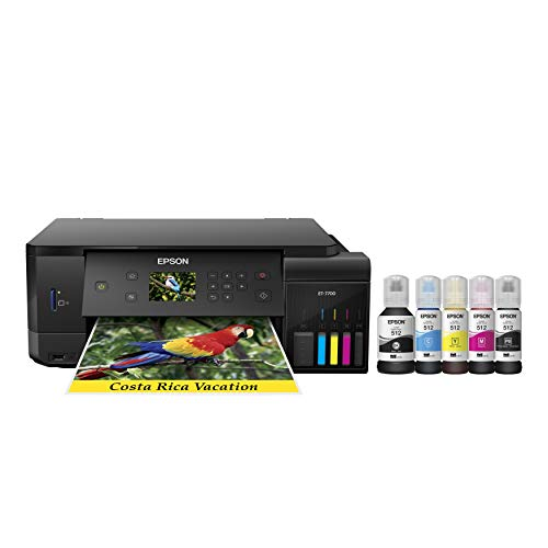 Epson Expression Premium ET-7700 EcoTank Wireless 5-Color All-In-One Supertank Printer With Scanner, Copier And Ethernet