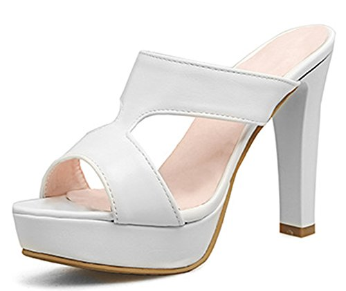 IDIFU Women's Sexy Open Toe High Block Heels Platform Mules Sandals (White, 7 B(M) US)
