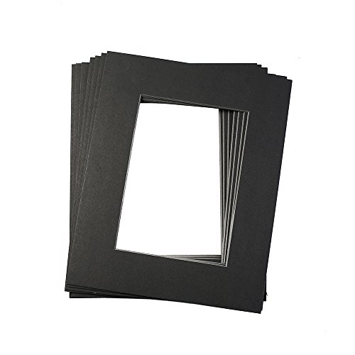 Mat Board Black Picture Mats 10 Pack 11x14 Size with Black Core Bevel Cut for 8x10 Photos Opening Acid Free by Aike Home