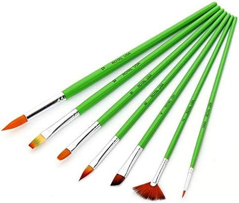 メイクブラシ アクリル絵画絵画水彩オイルに適し7PCSグリーンロッドマルチヘッド水彩ペンセットは、 化粧筆フェイスブラシ (色 : 緑, Size : FREE SIZE)