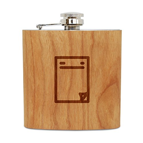 WOODEN ACCESSORIES COMPANY Cherry Wood Flask With Stainless Steel Body - Laser Engraved Flask With Magazine Cover Design - 6 Oz Wood Hip Flask Handmade In USA (Personalized Magazine Covers)