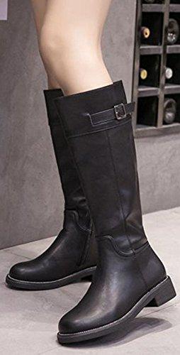 Side Booties Dressy Zipper Black Calf Women's Heeled Chunky Easemax Toe Low Buckle Mid Round 760TnwqRx