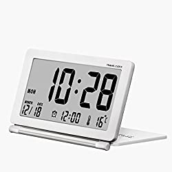 Alarpro Small Digital Alarm Clock Battery Operated for Travel with Date, Temperature, Repeating Snooze & Leather Cover