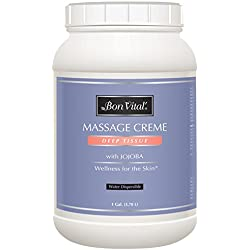 Bon Vital' Deep Tissue Massage Crème, Used for Muscle Relaxation, Muscle Soreness, Injury Recovery, Deep Muscle Manipulation, and Sports Massages, Moisturizer Repairs Dry Skin, 1 Gallon Jar