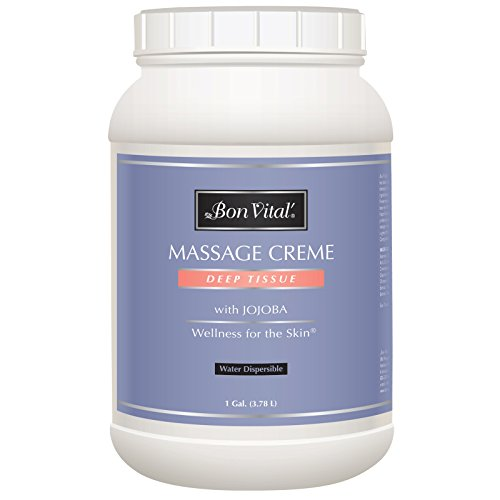 Bon Vital' Deep Tissue Massage Crème, Professional Massage Therapy Cream for Muscle Relaxation, Muscle Soreness, Injury Recovery, Deep Muscle Manipulation, Sports Massages, 1 Gallon Jar by Bon Vital