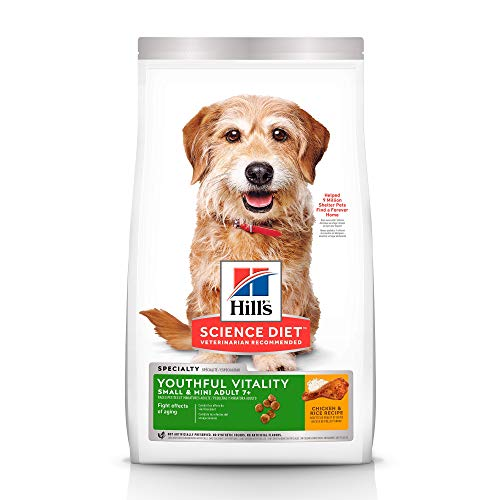 Hill's Science Diet Dry Dog Food, Adult 7+ for Senior Dogs, Youthful Vitality, Small & Mini Breeds, Chicken & Rice Recipe, 12.5 lb Bag