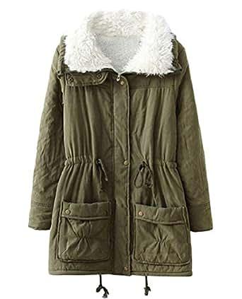 ACE SHOCK Winter Coats Women, Winter Long Warm Faux Fur Lined Parka Jackets Plus Size 12 Colors (Plus US 1X, Army Green)