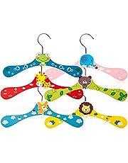 6 stycken barngalgar i trä, tecknad baby galgar, djurmotiv färgglada galgar, giraff, björn, groda, elefant, lejon och räv, halkfria, utrymmesbesparande klädhängare, 28 cm x 16 cm (6 färger)