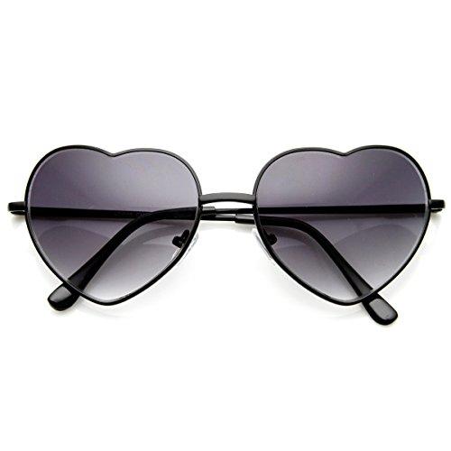 zeroUV - Small Thin Metal Heart Shaped Frame Cupid Sunglasses (Black - Black Sunglasses Heart
