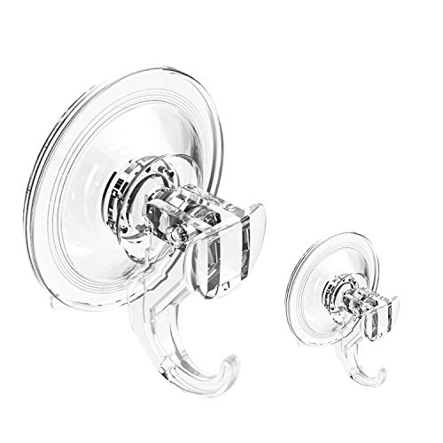 Bathroom Suction Cup Hooks Heavy Duty Plastic Shower Hooks for Loofah, 2 pack Clear Wreath Hanger for Glass Door Powerful Suction Hooks for Shower Kitchen Towel, Hand Robe, Key, Removable Wall Hooks