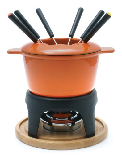 6 Piece Enameled Cookware Set (Sierra 11-Piece Meat Fondue Set, Orange Enameled Pot)