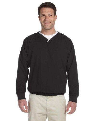 (Harriton Microfiber Wind Shirt M BLACK/ WHITE)