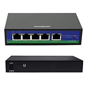 ANVISION 5-Port 250m Extend Ethernet Switch with 4 PoE Ports + 1 Uplink, 10/100Mbps IEEE 802.3af/at, 78W