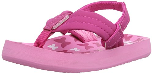 Reef Little Ahi Sandal (Infant/Toddler/Little Kid/Big Kid), Pink/Butterflies, 3/4 M US Infant