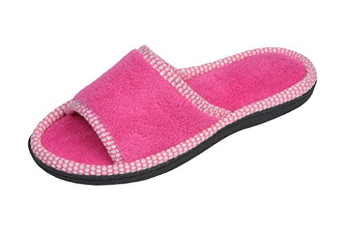 Beverly Rock Womens Polka Dot Trim Open Toe Terry Spa Slide Slipper Pink - Toe Open Trim