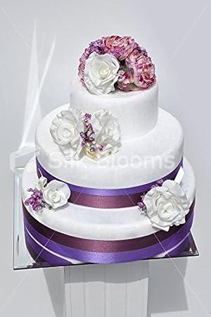 Lot De 4 Blanc Rose Et Violet Renoncule Pour Gâteau De
