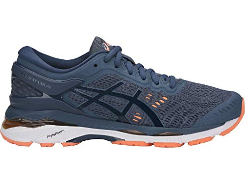 ASICS Women's Gel-Kayano 24, 8.5 Medium, Smoke Blue/Dark Blue/Canteloupe