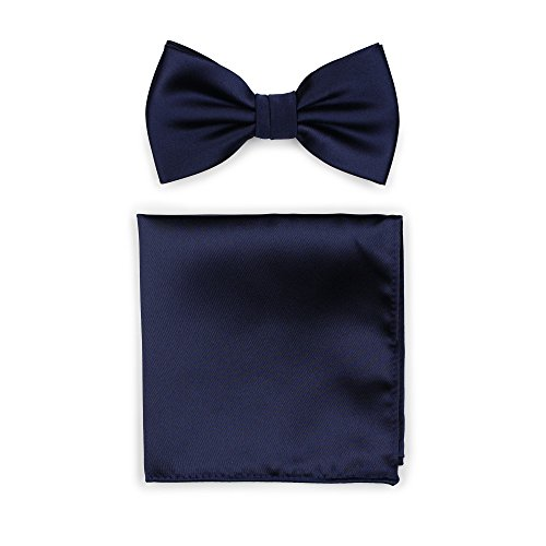 (Bows-N-Ties Men's Solid Adjustable Pre-Tied Bow Tie and Pocket Square Set (Navy))