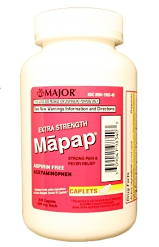 MAPAP ES 500MG CPL BOXED ACETAMINOPHEN-500 MG White 500 CAPLETS UPC 309041983403 -  Major Pharmaceuticals, 00904-1983-40