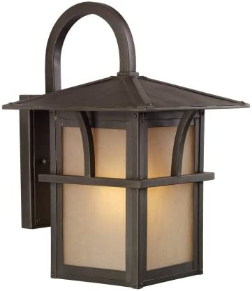 Sea Gull Lighting 88881-51 Medford Lakes One-Light Outdoor Wall Lantern with Etched Hammered, Light Amber Glass Panels, Statuary Bronze Finish