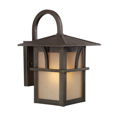 Sea Gull Lighting 88881-51 Medford Lakes One-Light Outdoor Wall Lantern with Etched Hammered, Light Amber Glass Panels, Statuary Bronze Finish - Etched One Light