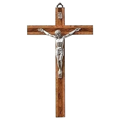 Silver Tone Natural Wood - Polished Silver Tone Corpus Natural 6.5 x 10.5 Burled Wood Wall Crucifix