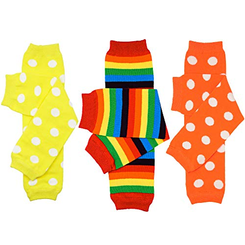 juDanzy 3 Pair Baby Boy And Girl Leg Warmers stripes, Polka Dot, Rainbow (One Size)