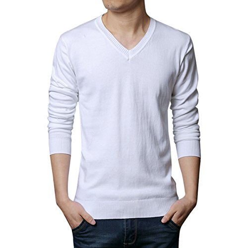 Lightweight V-neck Sweater (Stunner Men's Casual Solid V-neck Cotton Sweater Lightweight Pullover US L White)