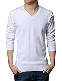 Men's Casual Solid V-Neck Cotton Sweater Lightweight Pullover