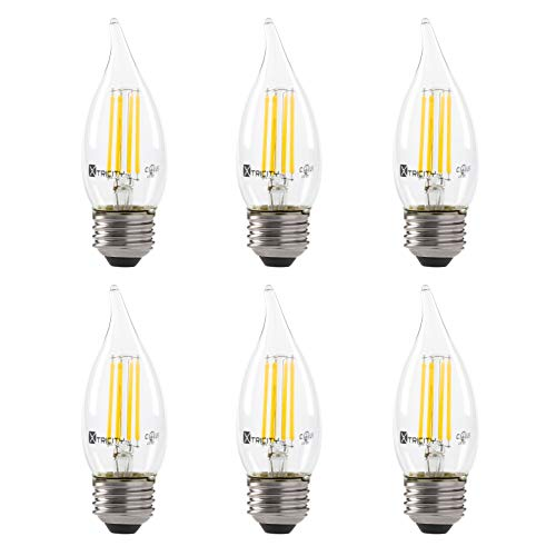 LED 5.5W Flame Tip Clear Filament Chandelier Light Bulb, 60W Equivalent, 500 Lumens, 3000K Soft White, Dimmable, 120V, E26 Medium Base, Energy Star, Clear (6 Pack)