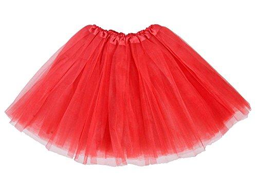 Classic Classic Elastic Skirt 3-layered Skirt Elastic(Red,onesize) (Womens Red Tutu Skirt)