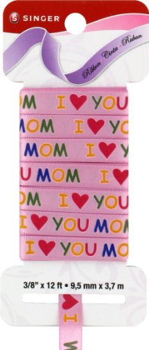Singer Satin Ribbon, 3/8-Inch by 12-Feet, Luv U Mom Print, Bubble Gum Pink