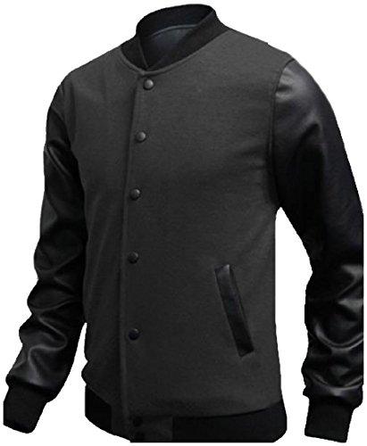 Dark Grey Flap College Splicing Button Active Mens Jacket Pockets Down Mogogo 6zwTq1CT