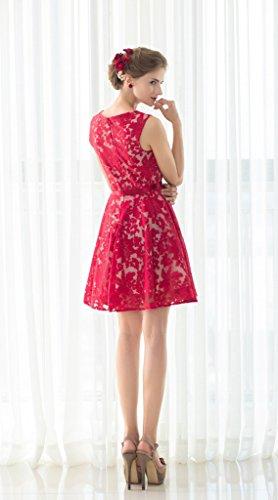 Floral Prom Women Short Aurora Bridal Red Lace Gown Dresses Bridesmaids 2016 qxE0CO