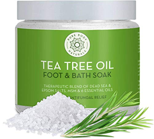 Tea Tree Oil Foot Soak, 100% Natural with Epsom and Dead Sea Salts, Foot Fungus, Athletes Foot, and Toenail Anti Fungal Treatment, Tired Feet Relief - by Pure Body Naturals - 20 Ounce (Label Varies)