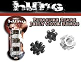 Gift Set Of Pleasure Stars Jelly C Rings 6 Per Pack And Fetish Fantasy Series Furry Love Cuffs - Black
